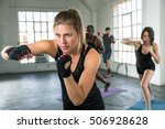 female punching in aerobics... | Shutterstock . vector #506928628
