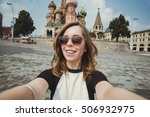 pretty young woman tourist... | Shutterstock . vector #506932975
