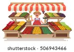 vegetable fruit local shop.... | Shutterstock .eps vector #506943466