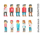 flat design winter people... | Shutterstock .eps vector #506947555