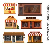 vector set of store buildings.... | Shutterstock .eps vector #506960002