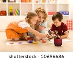 kids painting hands and making... | Shutterstock . vector #50696686