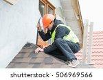 roofer builder worker... | Shutterstock . vector #506969566