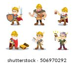 viking cartoon set illustration ... | Shutterstock .eps vector #506970292