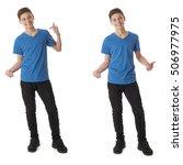cute teenager boy in blue t... | Shutterstock . vector #506977975
