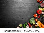 big set organic food. fresh raw ... | Shutterstock . vector #506983492