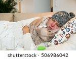 sick man wearing scarf lying on ...   Shutterstock . vector #506986042