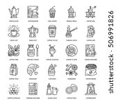 vector line icons of coffee... | Shutterstock .eps vector #506991826