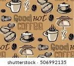 coffee  doodle seamless pattern ...   Shutterstock .eps vector #506992135