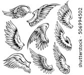 set of black white bird wings... | Shutterstock .eps vector #506994502