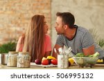 cooking  love. lovely couple at ... | Shutterstock . vector #506995132