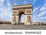 arc de triomphe paris city at... | Shutterstock . vector #506996302