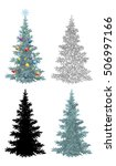 set of christmas trees  with... | Shutterstock . vector #506997166