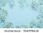 wedding flower frame on blue... | Shutterstock . vector #506998618