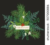 greeting card with pine... | Shutterstock .eps vector #507000886