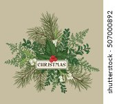 greeting card with pine... | Shutterstock .eps vector #507000892