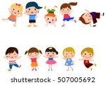 cute character set of kids   Shutterstock .eps vector #507005692
