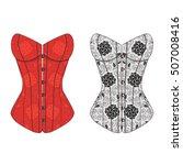 corset vintage lace set.... | Shutterstock .eps vector #507008416
