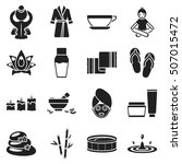 spa set icons in black style.... | Shutterstock .eps vector #507015472