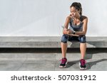 fitness runner on mobile smart... | Shutterstock . vector #507031912