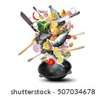 large iron skillet with falling ... | Shutterstock . vector #507034678