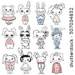 set of 12 cute vector fashion... | Shutterstock .eps vector #507034852
