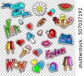 big set of girl fashion comics... | Shutterstock .eps vector #507037192