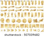ribbon banner label gold vector ... | Shutterstock .eps vector #507039682