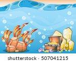 cartoon vector underwater... | Shutterstock .eps vector #507041215