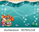 cartoon vector underwater... | Shutterstock .eps vector #507041218