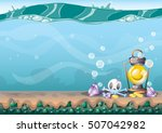 cartoon vector underwater... | Shutterstock .eps vector #507042982