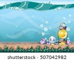 cartoon vector underwater...   Shutterstock .eps vector #507042982