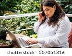 portrait of beautiful plus size ... | Shutterstock . vector #507051316