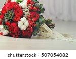 Winter Wedding Bouquet Of Red...