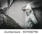 girl teenager in a knitted cap... | Shutterstock . vector #507058798