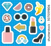 set of stickers comic style.... | Shutterstock .eps vector #507059806