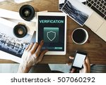data protection shield secured... | Shutterstock . vector #507060292