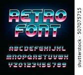 80's retro alphabet font.... | Shutterstock .eps vector #507075715
