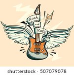 music design   drawn winged... | Shutterstock .eps vector #507079078