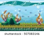 cartoon vector underwater... | Shutterstock .eps vector #507083146