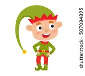 cute little christmas boy elf... | Shutterstock .eps vector #507084895