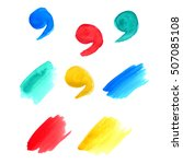 set of watercolor stains. red ... | Shutterstock . vector #507085108