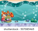 cartoon vector underwater... | Shutterstock .eps vector #507085465