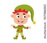 cute little christmas boy elf... | Shutterstock .eps vector #507086002