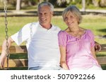 happy senior man and woman... | Shutterstock . vector #507092266