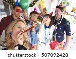 abundance of confetti and new... | Shutterstock . vector #507092428
