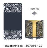 vector wedding card laser cut...   Shutterstock .eps vector #507098422