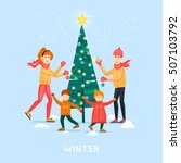 family decorates christmas tree ... | Shutterstock .eps vector #507103792