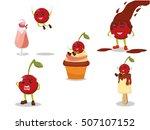cherry cartoon illustration... | Shutterstock . vector #507107152