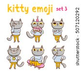 kitty emoji set 3. vector...   Shutterstock .eps vector #507120292